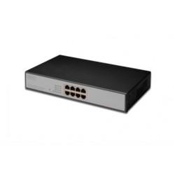 Switch 8-porti 10/100Mbps, PoE, räkitav, metallkorpus